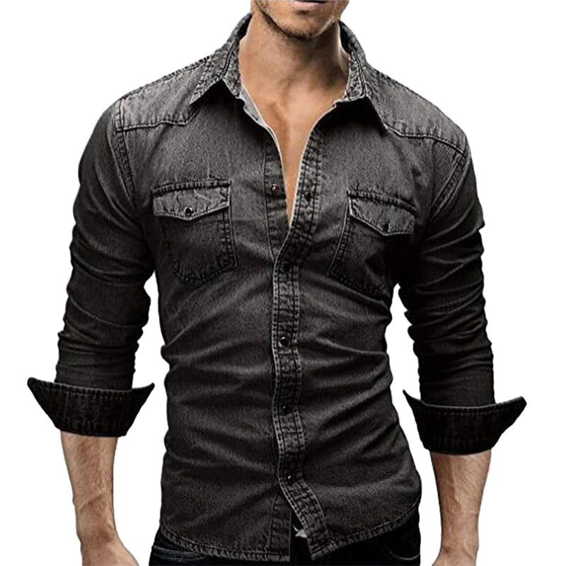 Men's Autumn Long Sleeve Denim Shirt