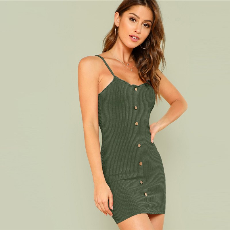 Women's Summer Ribbed Mini Dress With Decorative Buttons