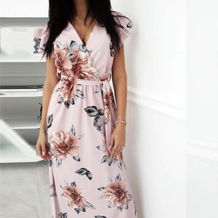 Women's Summer V-Neck Floral Loose Long Dress