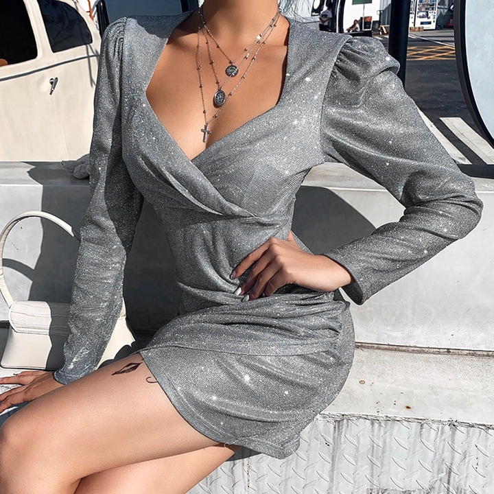 Women's Autumn Ruched Long Sleeve Bodycon Mini Dress