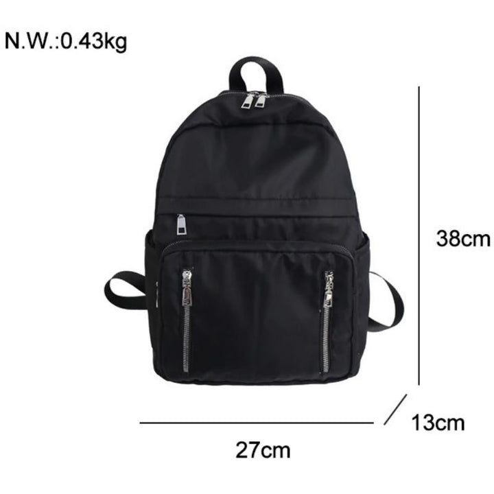 Women's Nylon Travel Backpack With Vertical Zippers