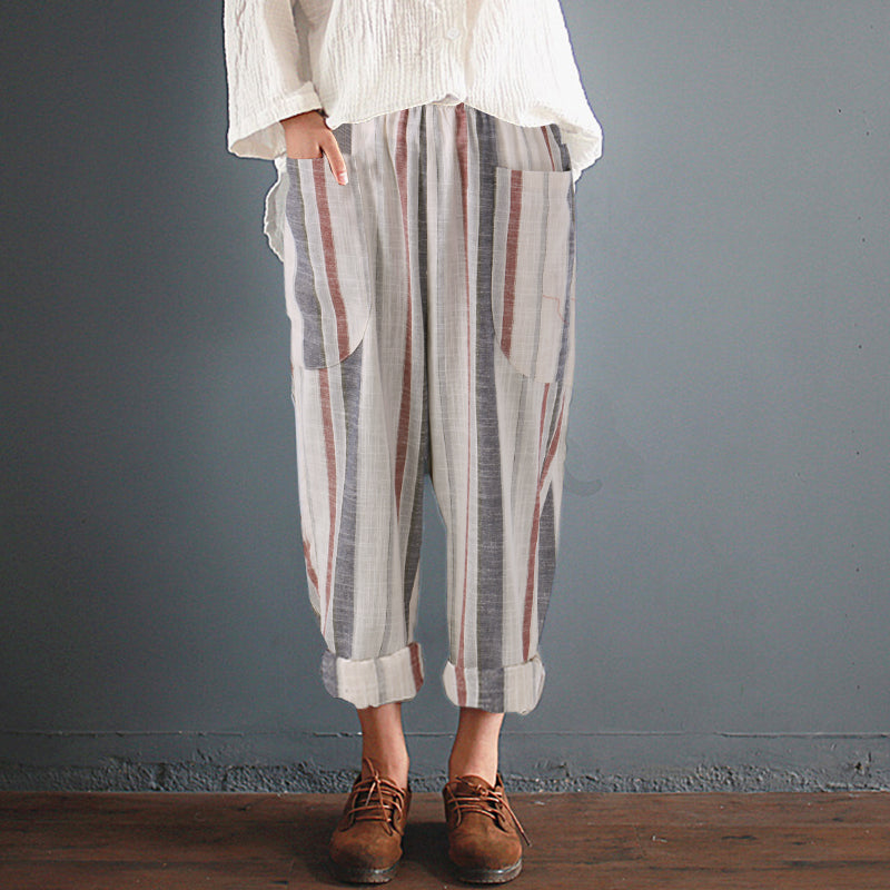 7ad06df1d1b8d Women s Summer Elastic High Waist Cotton Trousers