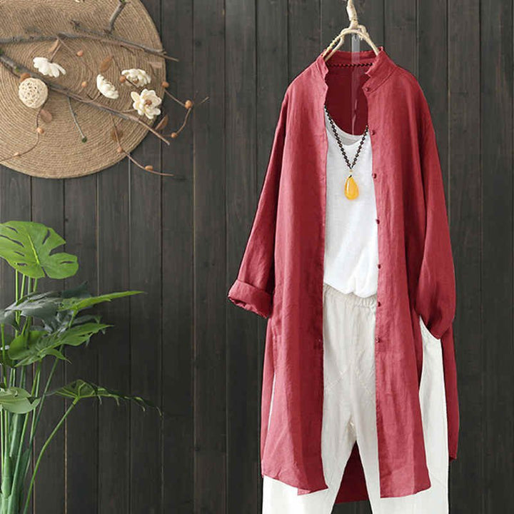 Women's Summer Casual Linen Long Shirt With Buttons