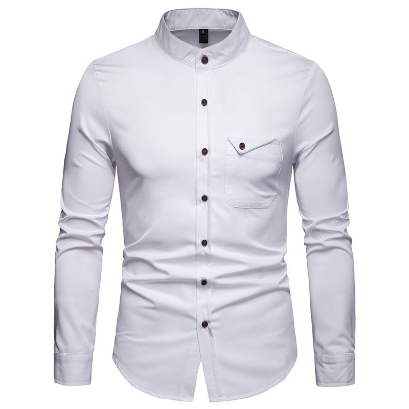 Men's Spring Long Sleeved Shirt With Collar