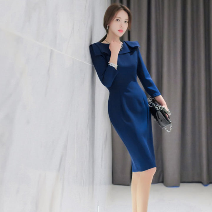 Women's Spring/Autumn O-Neck Polyester Dress With Ruffles