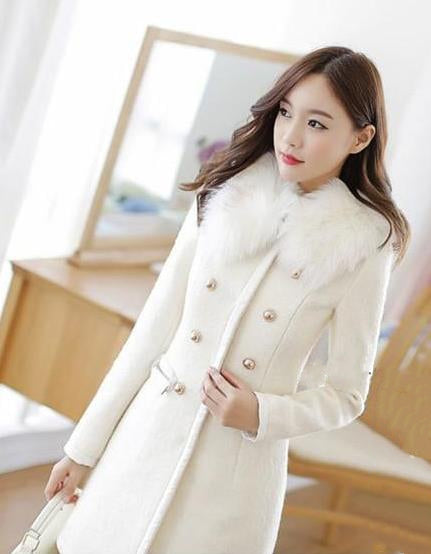 Women's Spring/Autumn Double-Breasted Wool Coat With Detachable Fur Collar