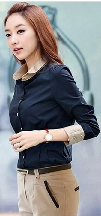 Women's Autumn Casual Patchwork Long-Sleeved Office Shirt