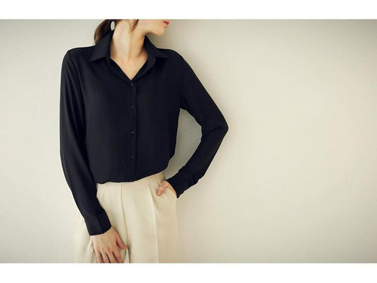 Women's Spring/Autumn Casual Long-Sleeved Loose Chiffon Blouse
