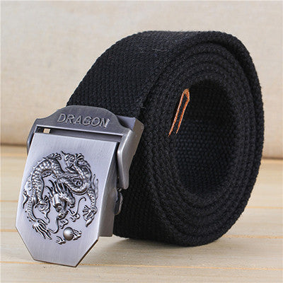 Men's Fabric Automatic Belt With Dragon On Buckle - Zorket
