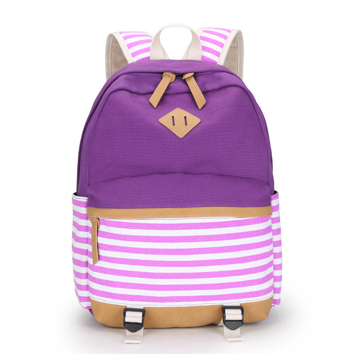 Female Canvas Striped Printing Backpack - Zorket