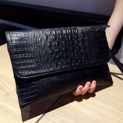 Alligator Skin Pattern Genuine Leather Women's Clutch - Zorket