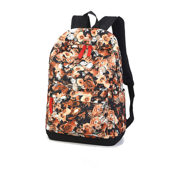 Vintage Canvas Rose Printing Backpack - Zorket