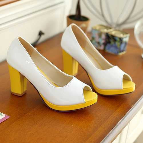 Female Casual Peep Toe Mixed Color Pumps - Zorket