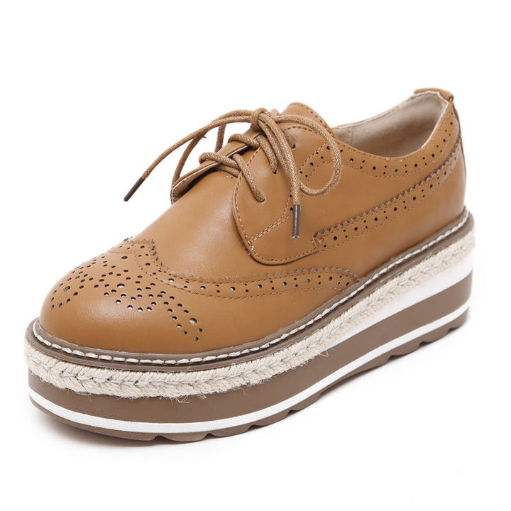 Vintage Women's Thick Bottom Top PU Leather Brogue Shoes - Zorket