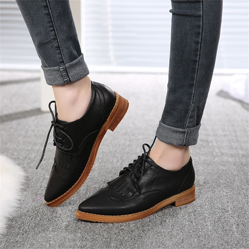Women's Pointed Toe Spring / Autumn PU Leather Oxfords - Zorket