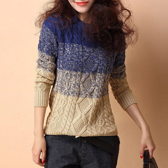 Female Casual Gradient Color Pullover - Zorket