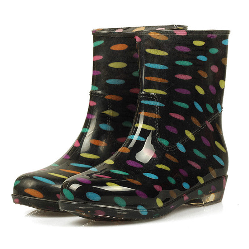Women's Round Toe Colorful Rubber Boots - Zorket