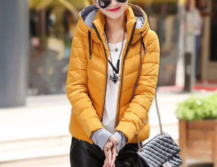 Women's Solid Color Hooded Winter Down Jacket - Zorket
