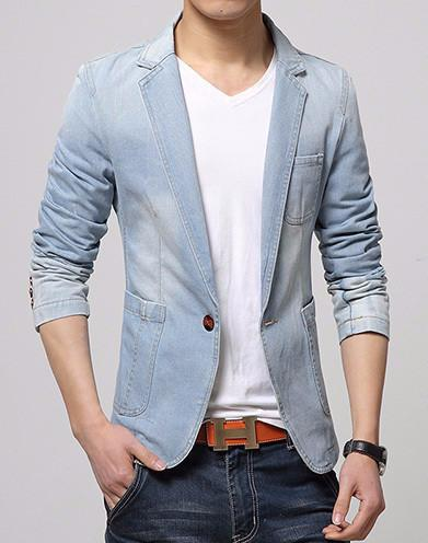 Men's Casual Fashion Denim Blazer