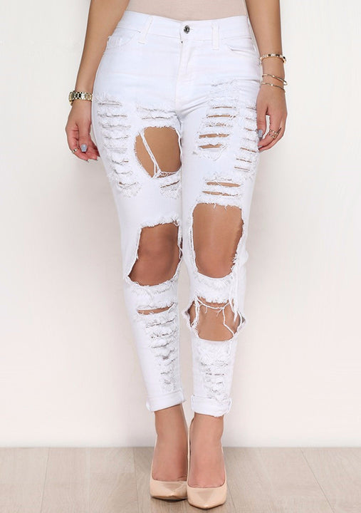 Ripped Women's Skinny High Waisted Pencil Jeans - Zorket