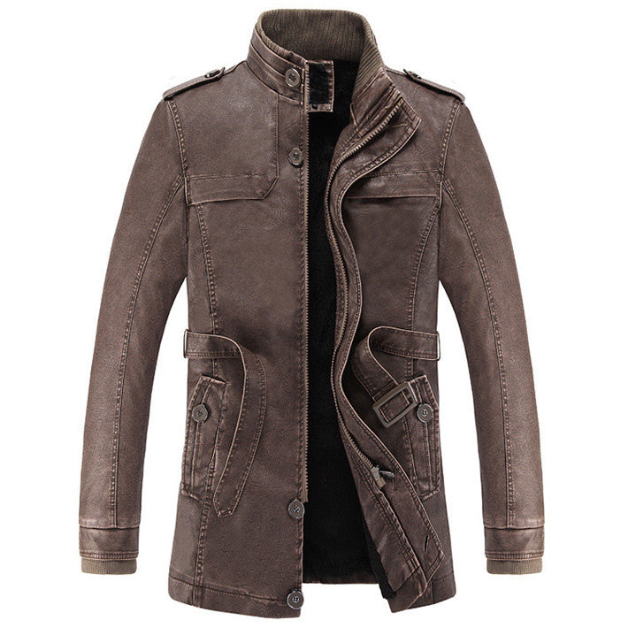 Men's Casual PU Leather Jacket With Collar - Zorket