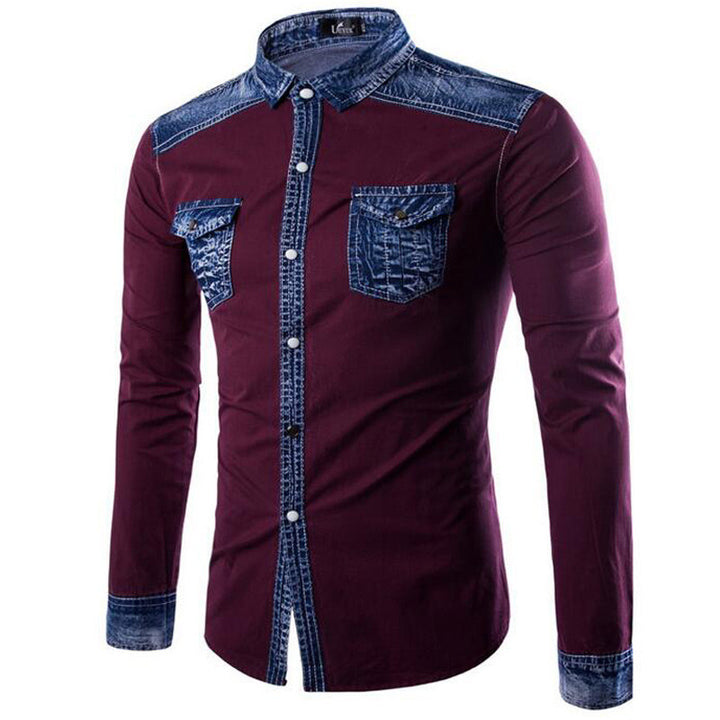 Spring / Autumn Men's  Long Sleeved Jeans Shirt - Zorket