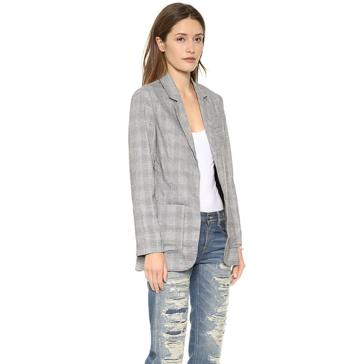 Women's Casual Blazer With Notched Lapel - Zorket
