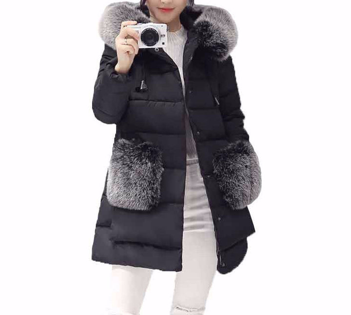 Women's Solid Color Winter Warm Parka - Zorket