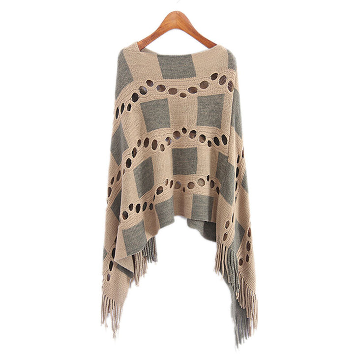 Women's Autumn Plaid Poncho - Zorket