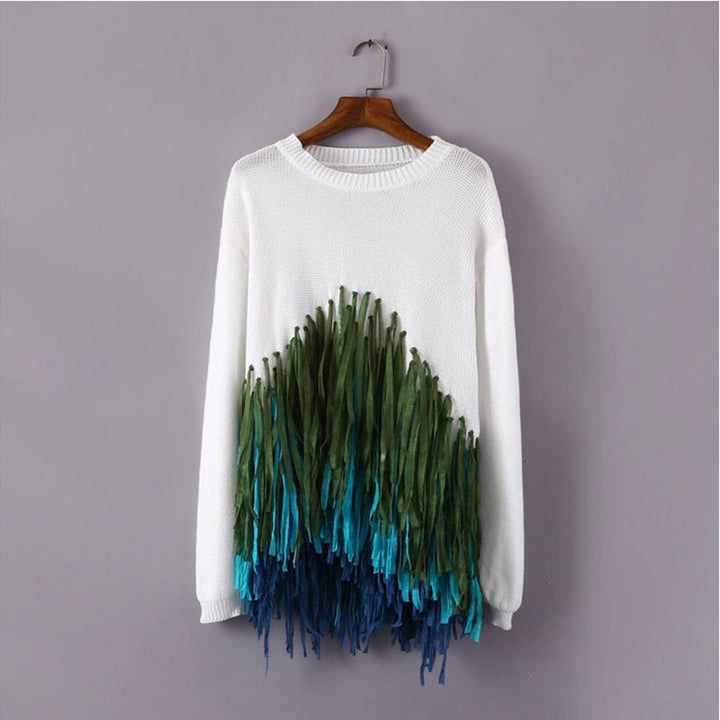 Female Casual O-Neck Knitted Sweater With Tassels - Zorket