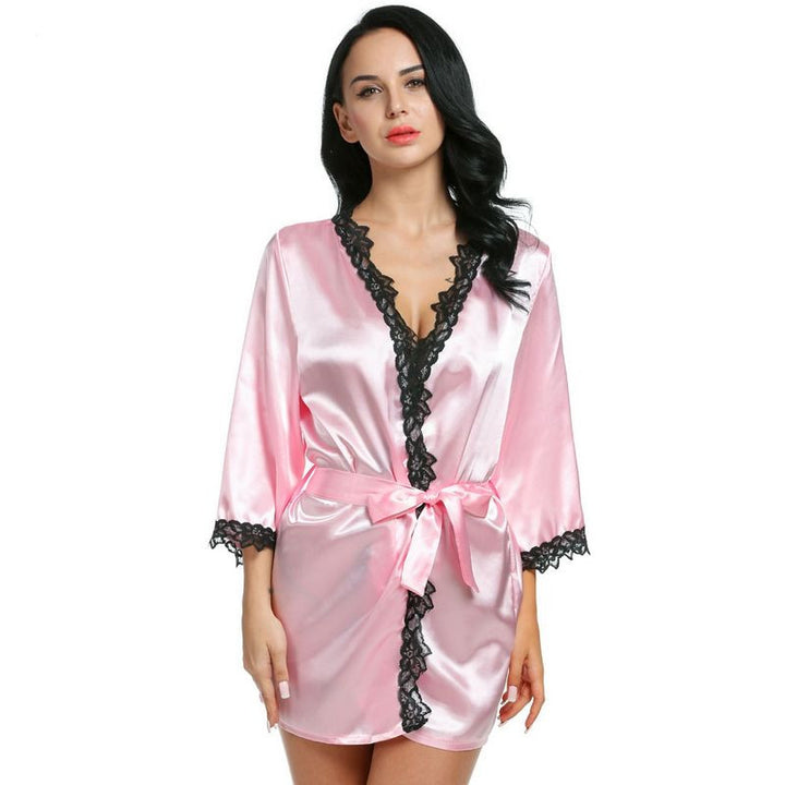 Women's Casual Night Robe With Beautiful Lace - Zorket
