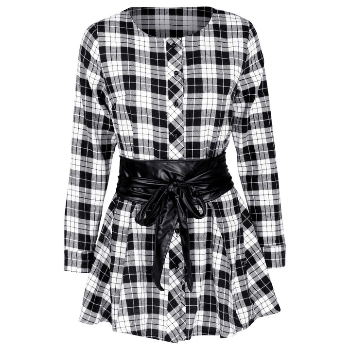 Women's Plaid Dress With Long Sleeves - Zorket