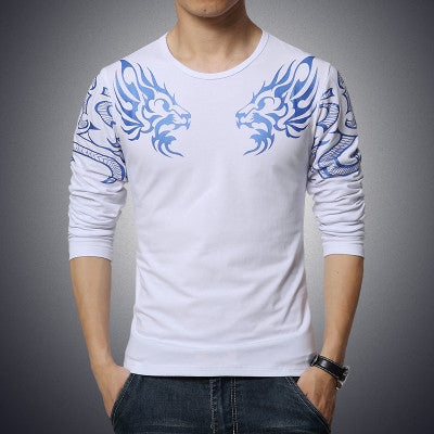 Men's Slim Long Sleeve T-shirt, Printed Dragon - Zorket
