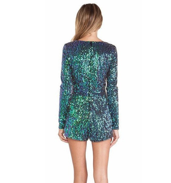 Women's Loose Party Romper With Sequins