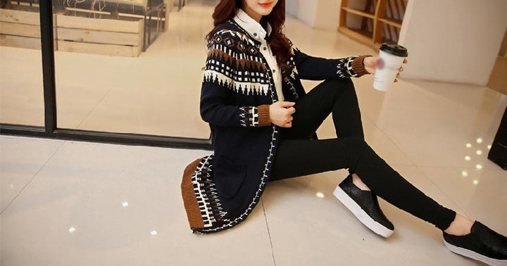 Women's Autumn / Winter Vintage Retro Style Long Knitted Cardigan - Zorket