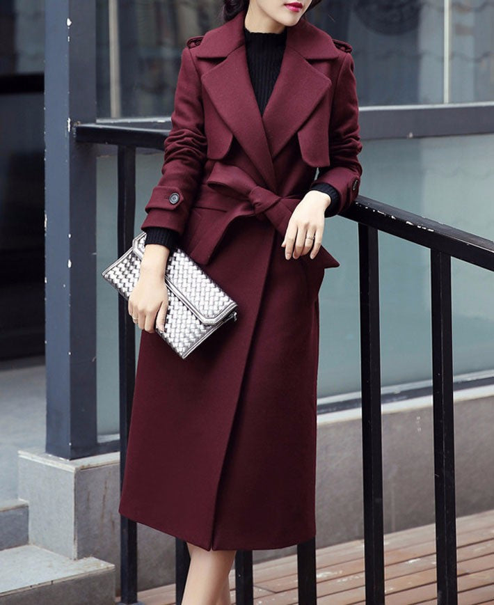 Coat – Long Wool Coat With Turn-Down Collar | Zorket