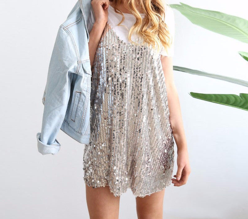 Dress – Deep V-Neck Sequin Dress | Zorket