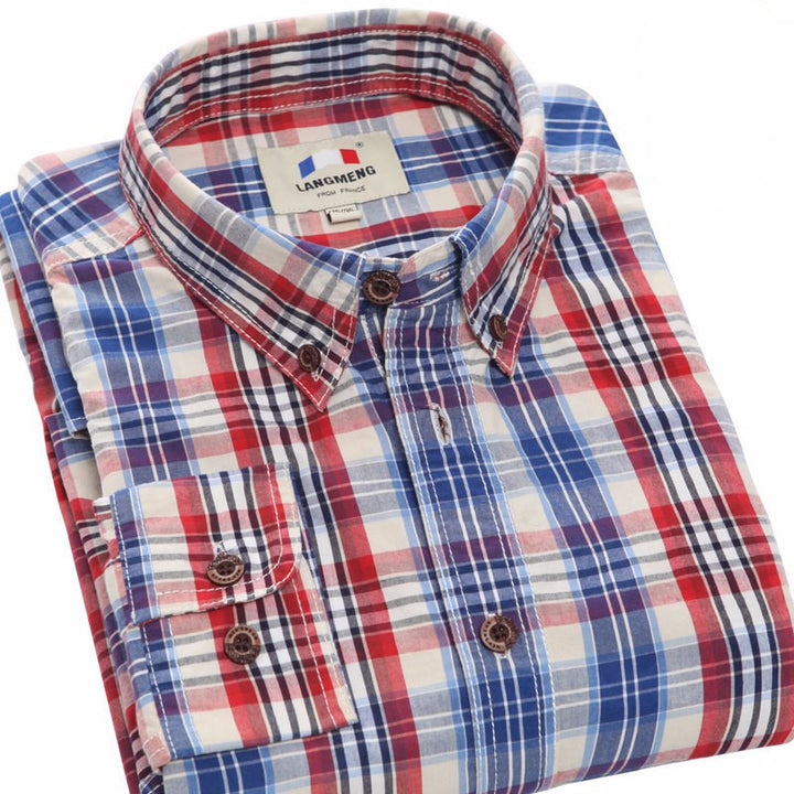 Men's 100% Cotton Long Sleeve Plaid Shirt - Zorket