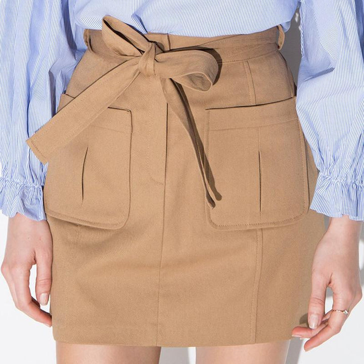 Spring Khaki Color Elegant Casual Women's Skirt