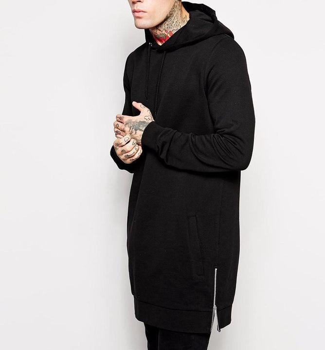 Men's Long Black Hooded Sweatshirt With Side Zip