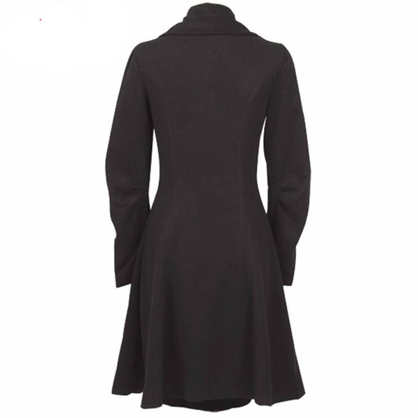 Trench Coat – Elegant Asymmetric Stand Collar Single-Breasted Coat | Zorket