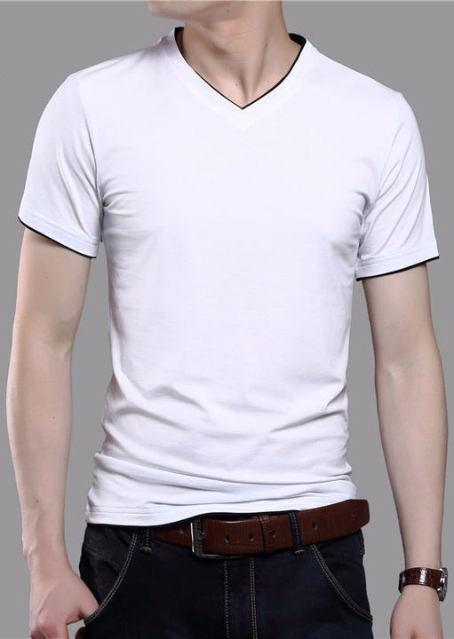 Men's Solid Color Short Sleeve V-Neck T-Shirt - Zorket