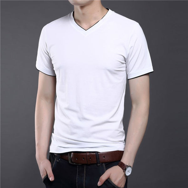 T-Shirt – Men's Solid Color Short Sleeve V-Neck T-Shirt | Zorket