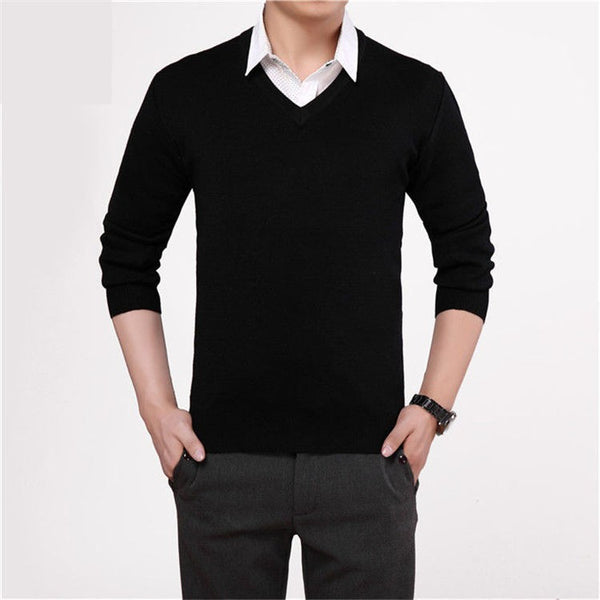 Pullover – Men's Casual V-Neck Solid Color Sweater | Zorket