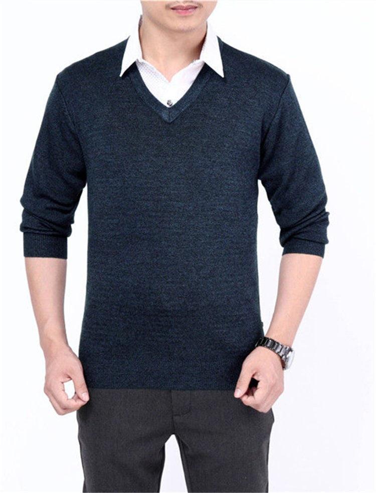 Men's Casual V-Neck Solid Color Sweater - Zorket