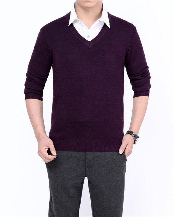 Men's Casual V-Neck Solid Color Sweater