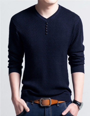 Men's V-Neck Long Sleeve Solid Color Pullover - Zorket