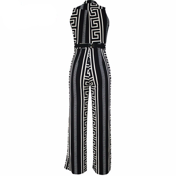 Women's Belted Elegant Wide Leg Jumpsuit - Zorket