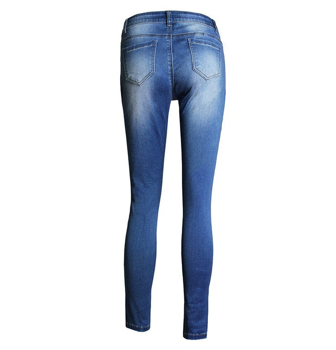 High Waist Women's Skinny Pencil Ripped Casual Jeans - Zorket