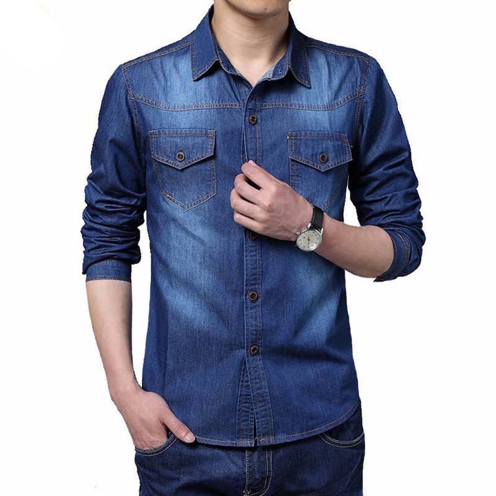 Men's Cotton Long Sleeve Slim Fit Shirt - Zorket